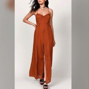 Button Up, Open Back Maxi Dress- Rust